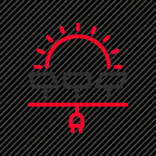 electricity, heat, panels, photovoltaic, power, solar, sun icon