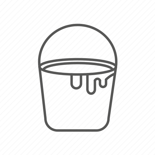 bucket, pail, paint, renovation, repair, tool icon