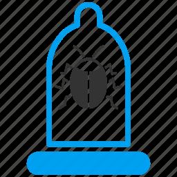 antivirus, bug, condom, debugger, preservative, remedy, safety icon