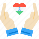 care, day, hand, heart, india, republic, tricolour icon