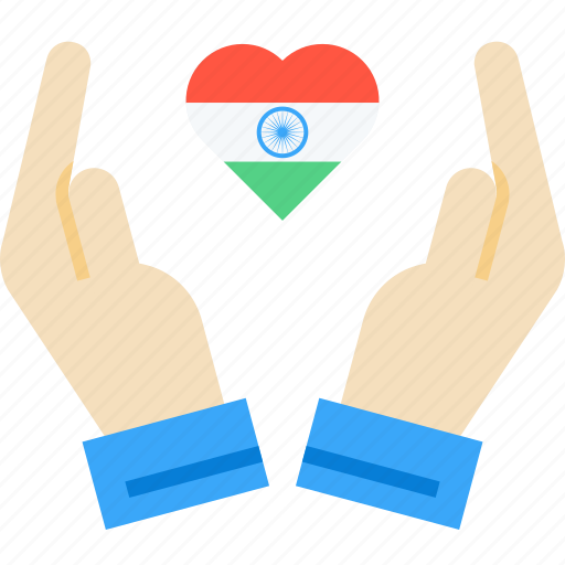Care, day, hand, heart, india, republic, tricolour icon - Download on Iconfinder