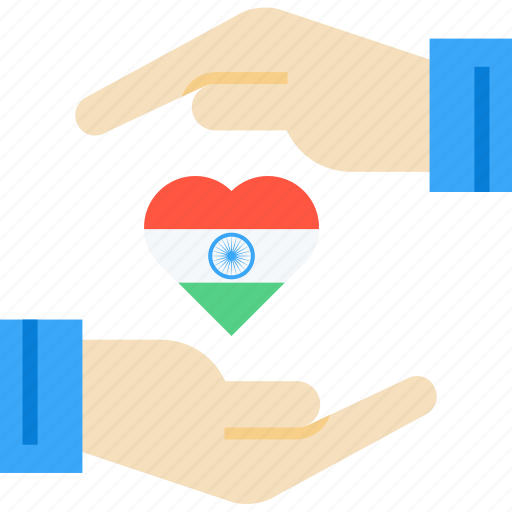 care, day, hand, heart, india, national, republic icon