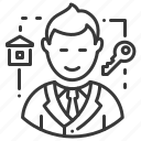 house, key, male, realtor icon