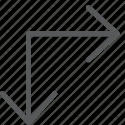 arrow, corner, down, expand, maximize, move, resize, right icon