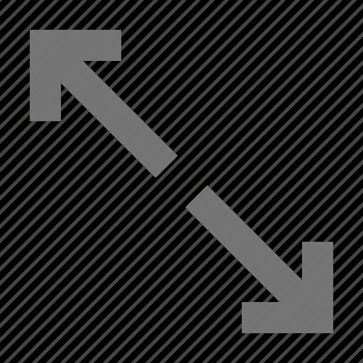 action, arrows, control, design, diagonal, expand, software, tool icon