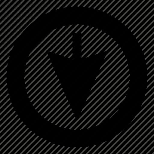 arrow, click, down arrow, download, pointer icon