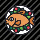 fish, food, healthy, restaurant, seafood, vegetable