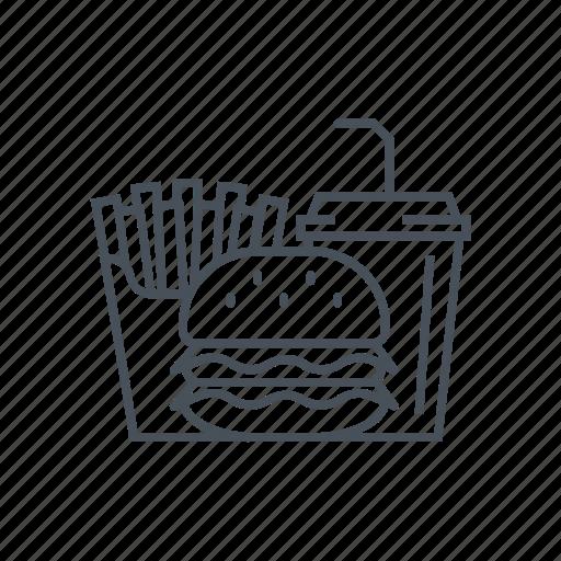 burger, fast food, fried potatoes, hamburger, junk food, menu, unhealthy icon