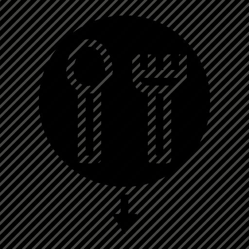 cutlery, food, location, pin, restaurant icon