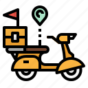 bike, delivery, motorcycle, parcel, transport icon