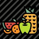fruits, juice, orange, pineapple, watermelon icon