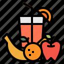 apple, fruits, grape, juice, orange