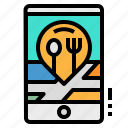 location, map, mobile, pin, restaurant icon