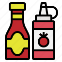bottle, condiment, ketchup, sauce, tomato