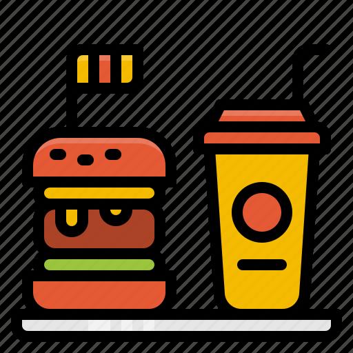 beverage, drink, fast, hamburger, water icon