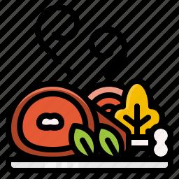 food, menu, pork, roast, vegetables icon