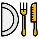 dish, element, fork, kitchen, knife, restaurant icon