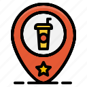 beverage, coffee, drink, map, pin, restaurant, shop icon