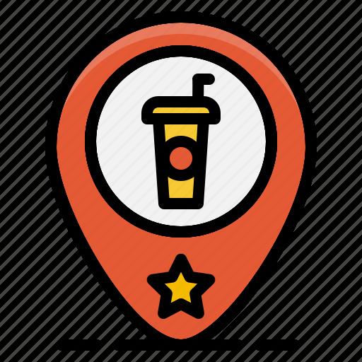 beverage, coffee, drink, map, pin, restaurant, shop icon