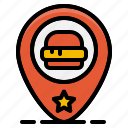 fast, food, hamburger, location, map, pin, restaurant icon