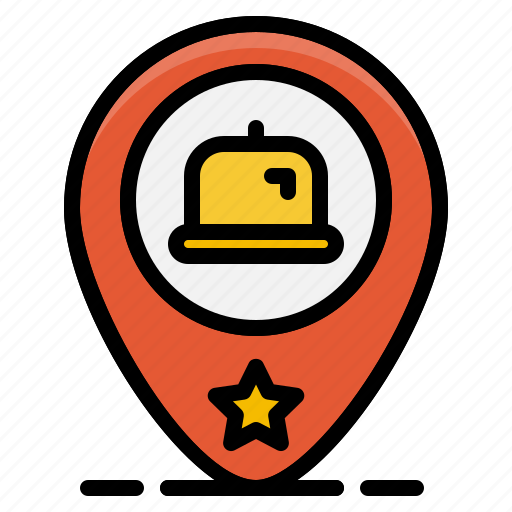 map, pin, plate, restaurant, served, store, tray icon