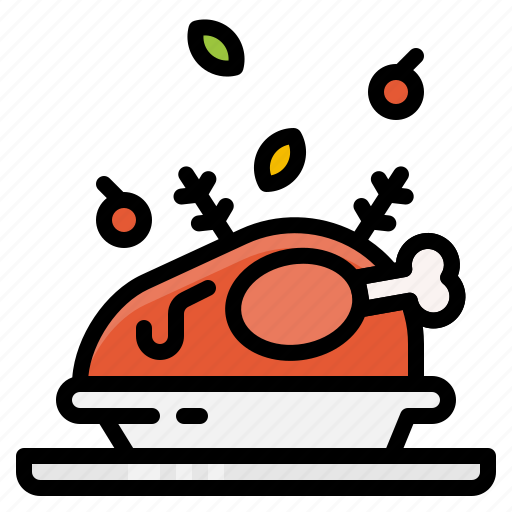 chicken, food, menu, roasted, vegetables icon