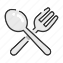 cross, food, fork, restaurant, spoon