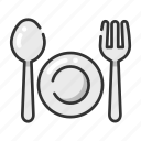 dish, fork, meal, restaurant, spoon icon