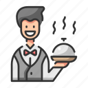 food, man, restaurant, tray, waiter icon
