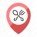 cross, fork, location, map, restaurant, spoon icon