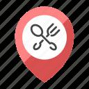cross, fork, location, map, restaurant, spoon