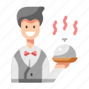 food, man, restaurant, tray, waiter icon