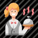 food, restaurant, tray, waitress, woman icon