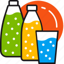 beverage, bottles, carbonated, drink, glass, soda, water icon