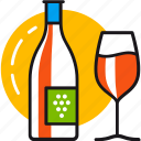 alcohol, beverage, bottle, drink, glass, red, wine icon
