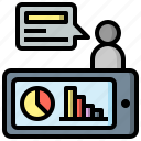 coaching, consulting, graph, mobile, online, seo, web icon