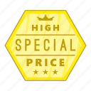 cartoon, high, label, object, price, sign, special icon