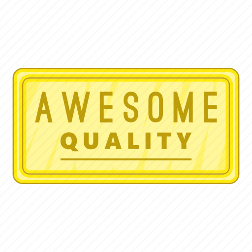 awesome, cartoon, label, object, quality, sign, star icon