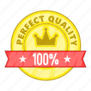 cartoon, guarantee, label, object, quality, sign icon