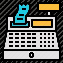 calculator, cash, reciept, register, retail icon