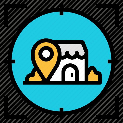 checkin, location, map, promote, retail, shop icon