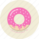 bakery, cuisine, dessert, donut, drink, food, retro icon