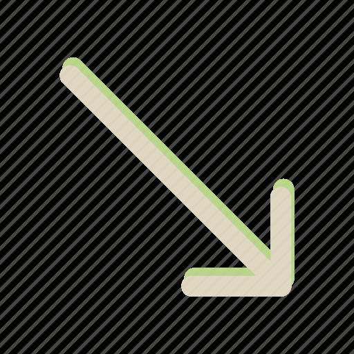 arrow, down, move, navigation, right icon