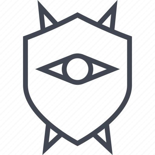 enemy, eye, look, shield icon