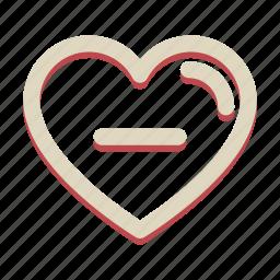 heart, love, minus, romance, valentine icon