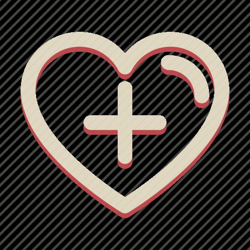 add, heart, love, plus, valentine icon