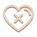 cancel, cross, delete, heart, valentine icon