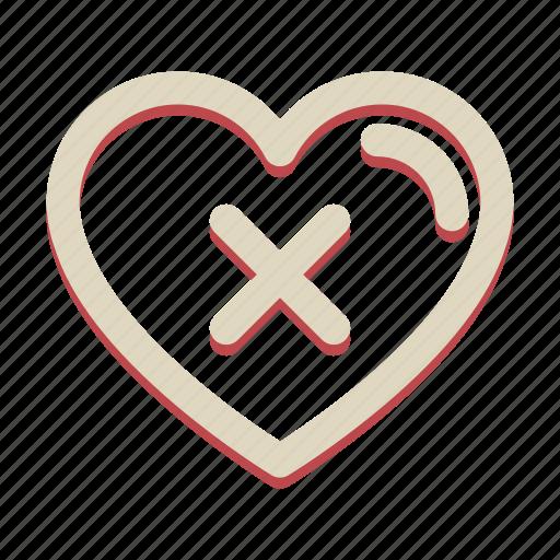 cancel, cross, delete, heart, valentine icon