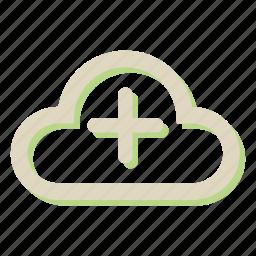 add, cloud, computing, storage, weather icon