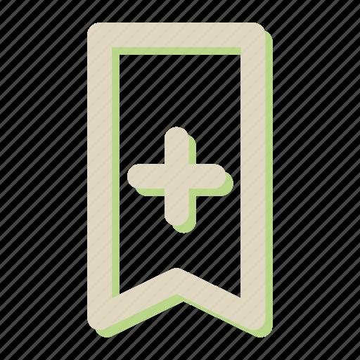 add, new, plus, rebbon, ribbon icon